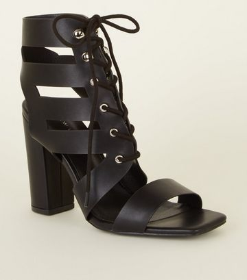 Newlook Black Leather Look Lace Up Ghillie Block Heels