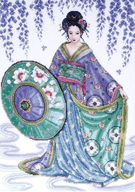 Japanese Hokusai 5 Kimono Women Counted Cross Stitch Chart Pattern