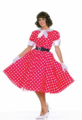 NEW Zombie Housewife Adult Women Costume Polka Dot Black Dress Forum Up To 14-16
