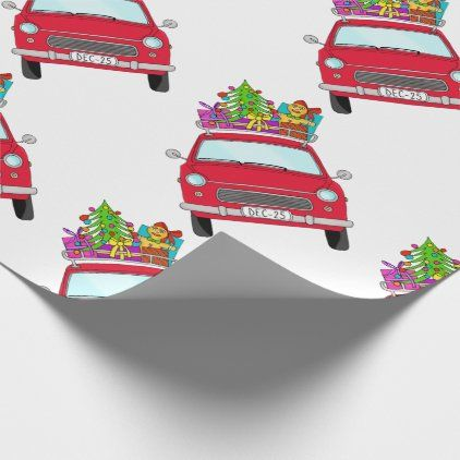Car Christmas Gift 2020 Red Car with Christmas Gifts Wrapping Paper | Zazzle.in 2020