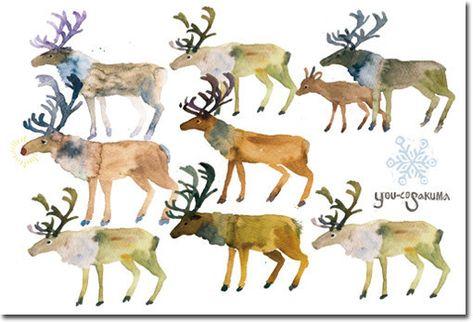 postcard 4枚セット「クリスマスカード-赤鼻のトナカイ-」xmas07