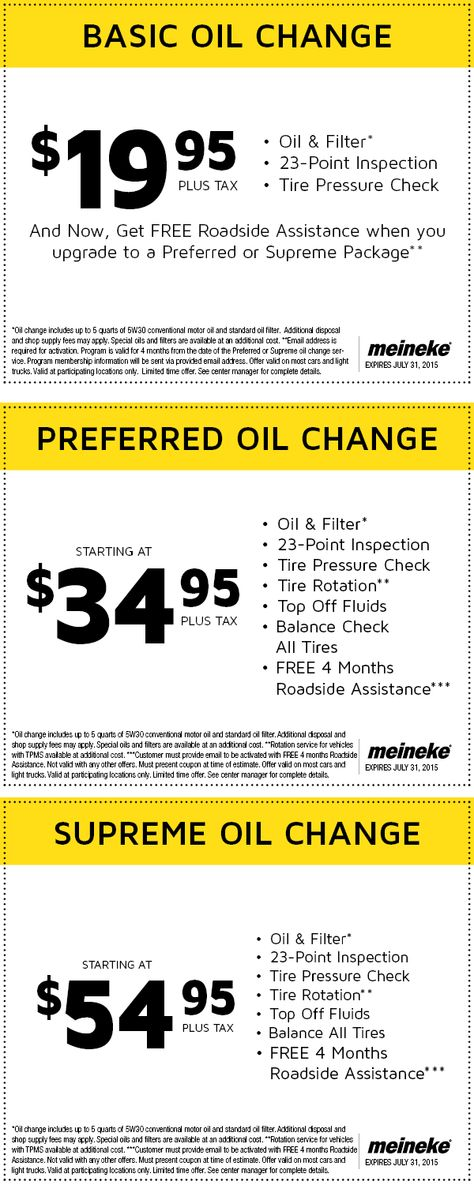 Meineke oil change prices