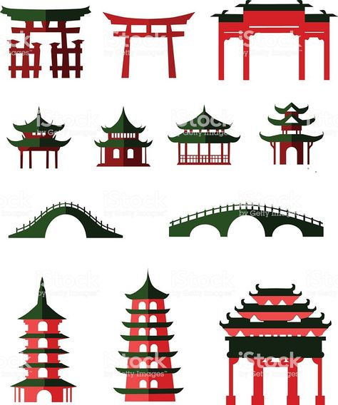 6 Pagoda Silhouettes Decoration International Chinese New Year Asian Party Event