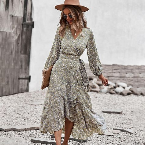 New 2021 Autumn and Winter Floral Dress Wrapped Chest Strap Large Swing Dress Casual Vacation Style - Khaki / S