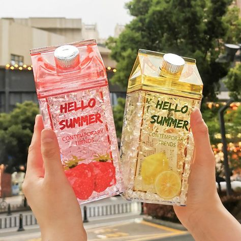 Flamingos Milk Water Bottle Bpa Free Sports Outdoor Straw Water Bottle With Printing GD My Drink Juice Dropshopping Cute Food, Yummy Food, Cute Water Bottles, Drinking Water Bottle, Japanese Snacks, Cute Cups, Cute Desserts, Bubble Tea, Aesthetic Food