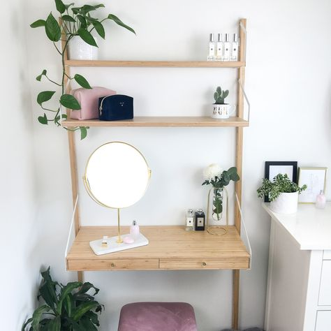 Check out my updated dressing table featuring the Ikea SVALNAS Wall-mounted workspace, Zara Home mirror with marble base, sostrene grene pink velvet stool. Diy Dressing Tables, Small Dressing Table, Wall Mounted Dressing Table, Ikea Dressing Room, Wall Mounted Desk, Wall Desk, Zara Home Mirror, Ikea Mirror, My New Room
