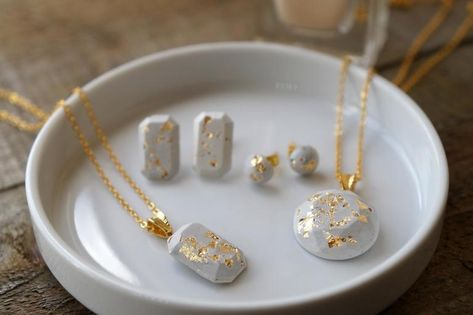 DIY fashion jewelry – set of earrings and pendants in concrete … - Jewelry