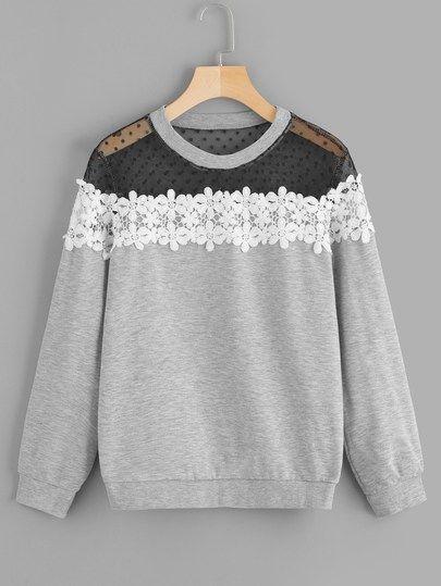 FIND Womens Lace Sweatshirt