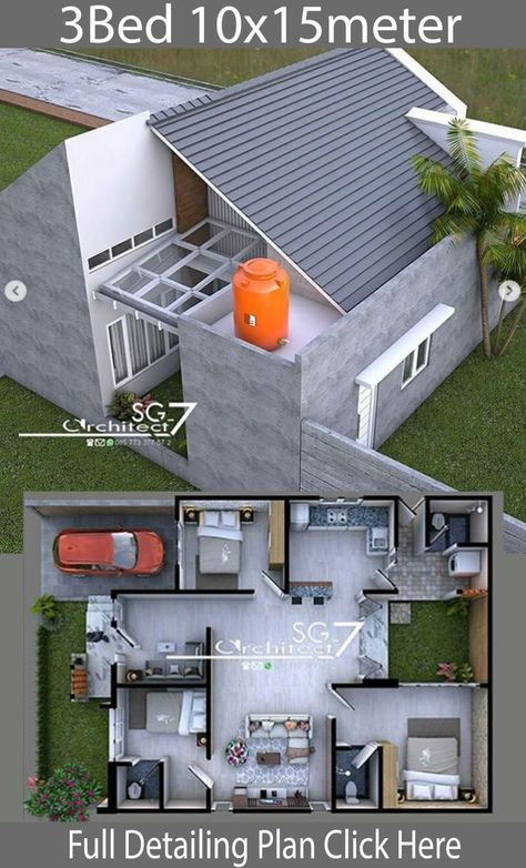 3 Bedrooms Home Design Plan 10x15m Home Design With Plan Arsitektur Rumah Rumah Indah Rumah Pedesaan