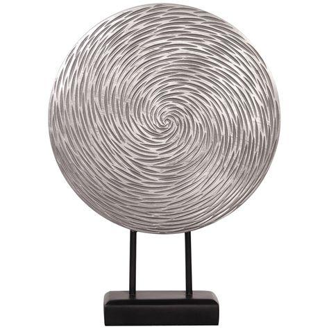 Howard Elliott Textured Silver Circle Sculpture   Silver home accessories, Decor, Silver furniture