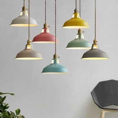 Industrial Hanging Pendant Light With Colorful Barn Shade 1 Light Pendant For Dining Table Industrial Pendant Lights Hanging Pendant Lights Led Pendant Lights