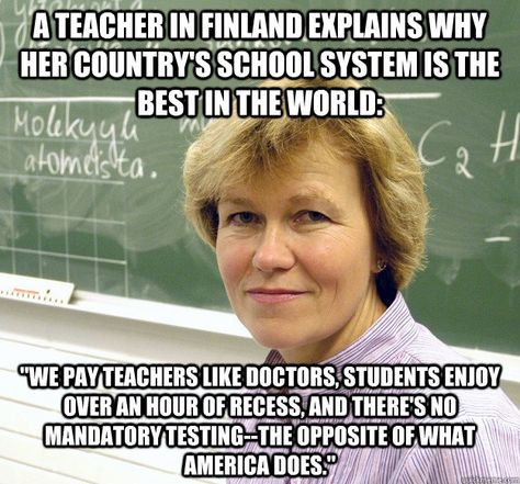 And also in Finland... More than 95% of teachers belong to a union.