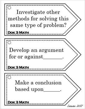 Depth Of Knowledge DOK MATH Question Stems | math | Math