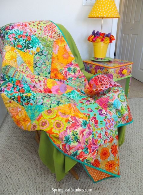 Cascade Quilt Pattern by SpringLeaf Studios using Amy Butler fabrics My newest finish . I've been wanting to make a new quilt with my Cascade pattern and when these lovely, mostly Amy Butler, fabrics found their way to the top of my stash it was Use this Big Block Quilts, Scrappy Quilts, Baby Quilts, Quilting Fabric, Quilting 101, Amy Butler Fabric, Bright Quilts, Charm Pack Quilts, Hello Kitty Wallpaper