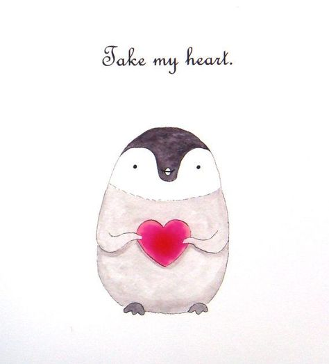 Penguin Love Figure Print Cute Penguin by mikaart, $ 8.99 - #figure #mikaart #Penguin #print - #drawingdecoration
