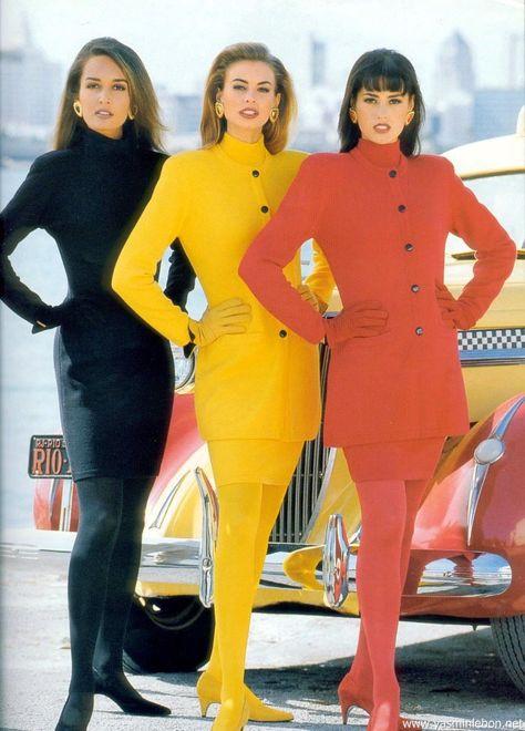 Escada S/S : Gail Elliott, Niki Taylor & Yasmin Le Bon, monochromatic outfits inspiration.