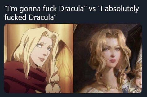 """""""I'm gonna fuck Dracula"""" vs """"I absolutely fucked Dracula"""" - iFunny :) Dracula Castlevania, Alucard Castlevania, Castlevania Netflix, Stupid Funny, Funny Cute, Manhwa, Science Humor, Twisted Humor, Funny Comics"""