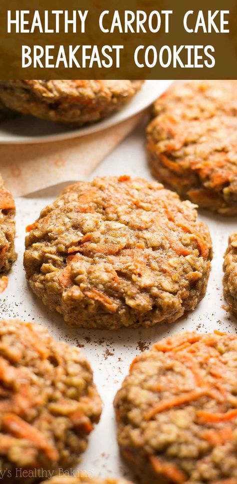 Healthy Carrot Cake Oatmeal Breakfast Cookies – only 74 calories, but they don't taste healthy at all! You'll never need another breakfast cookie recipe again! easy breakfast cookies for kids. low calorie clean eating b Oatmeal Breakfast Cookies, Breakfast Cookie Recipe, Healthy Breakfast Recipes, Healthy Baking, Breakfast Cake, Healthy Oatmeal Breakfast, Healthy Food, Healthy Recipes For Kids, Healthy Baked Snacks