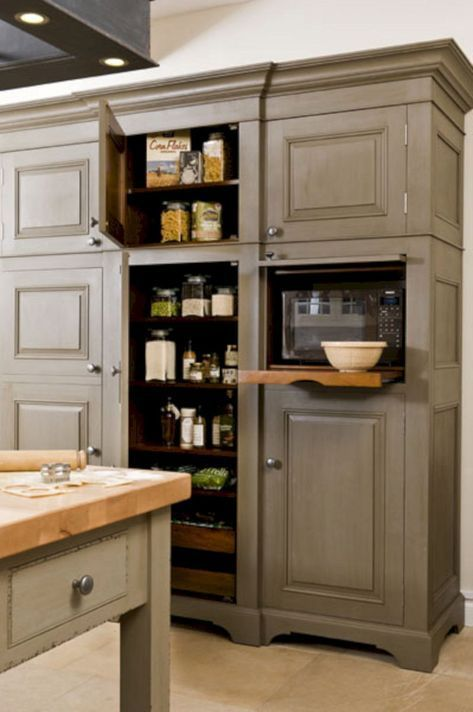 10 Best Built In Microwave Cabinet Inspirations For Beautiful Kitchen Freestanding Kitchen Free Standing Kitchen Cabinets Home Kitchens