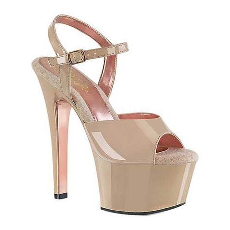 Aspire-609TT Nude Patent/Nude-Rose Gold Chrome, 6 Heels