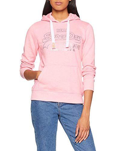 Superdry Damen Pullover Vintge Logo Metalic Otlne Hood (Neon