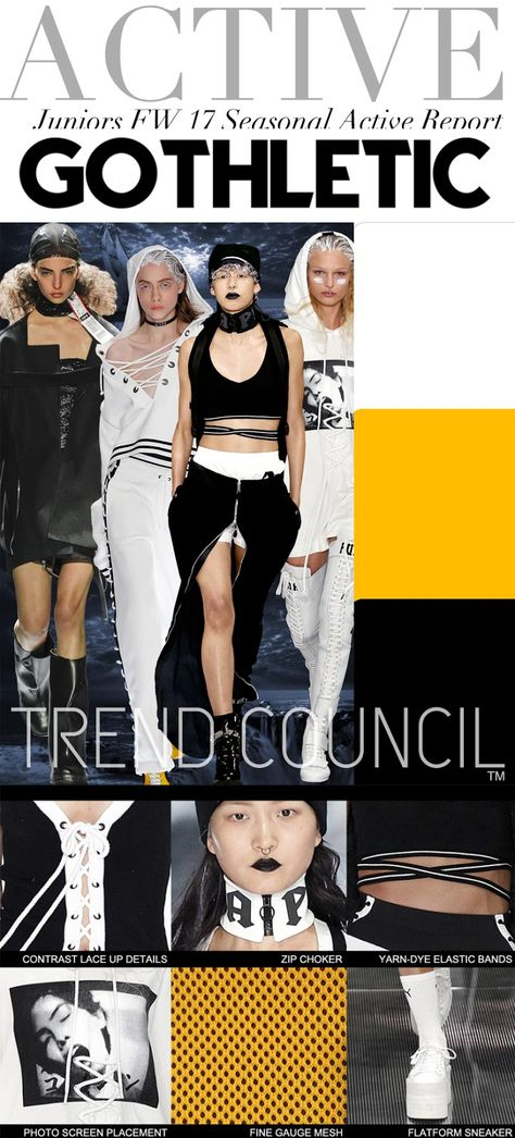 TRENDS // TREND COUNCIL - JUNIORS AND YOUNG MENS . FW 2017 Trend Council is a fashion trend forecasting company who delivers expert analysis and design inspirations. Their team provides a great wealth of consulting services for all your company's design needs.  Trend Council focuses on the Ladies, Juniors, Mens, Young Mens and Active markets. To learn more about their services, go here.  Here is the latest Juniors and Young Mens trend,  Gothletic for the FW 2017 season.