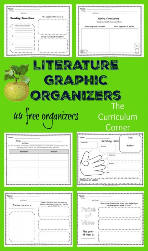 Literature Graphic Organizers FREE from The Curriculum Corner 1st - 3rd Grades | Reading Workshop