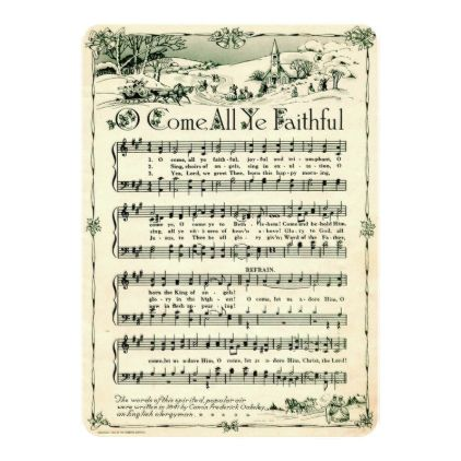 #Christmas Vintage Sheet Music Custom Card - #Xmascards #ChristmasEve Christmas Eve #Christmas #merry #xmas #family #holy #kids #gifts #holidays #Santa #cards