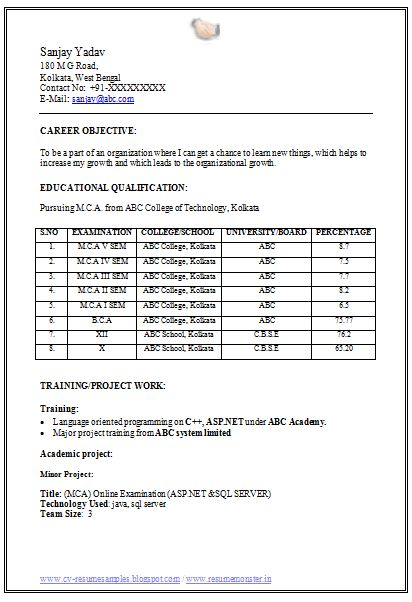 MCA Fresher Resume Format Doc (1) Career Resume format, Latest
