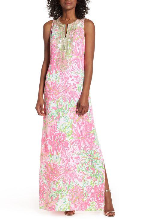 Women S Lilly Pulitzer Carlotta Maxi Dress Size 00 White