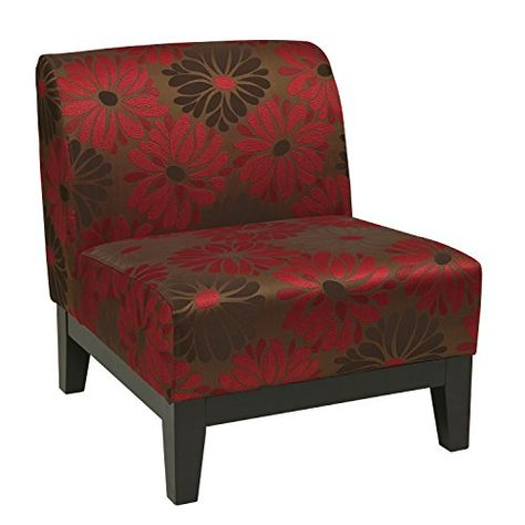 Red//Gray//Black Flower Linon Home Decor Taylor Accent Chair