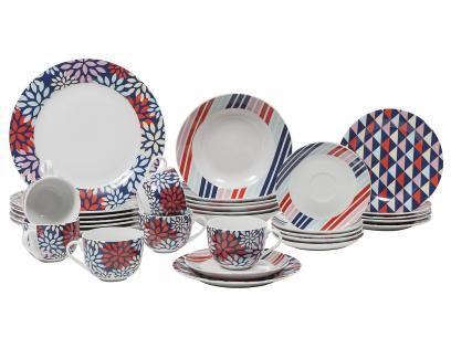 Aparelho De Jantar Cha 30 Pecas Casambiente Porcelana Redondo