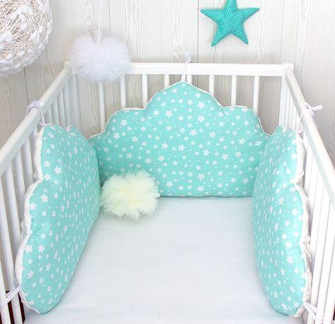 Tour de lit bébé, nuages, fille ou garçon, 3 grands coussins ...