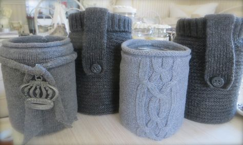 "made some ""jar cozies"" out of a bunch of old sweaters that i picked up at the Sal Army this past w-end. will use the rest of the sweater remnants to make small throw pillows, lavender sachets and cover gift boxes with.....<3"