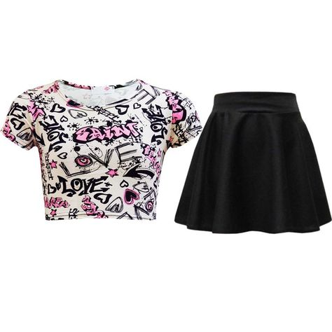 Kids Girls Love Graffiti Scribble Print Crop Top & Black Skater Skirt Set New Age 7 8 9 10 11 12 13 Years
