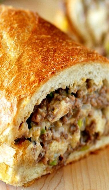 Stuffed French Bread - like a philly cheese steak only with ground beef! Try Jimmy John's Day Old!