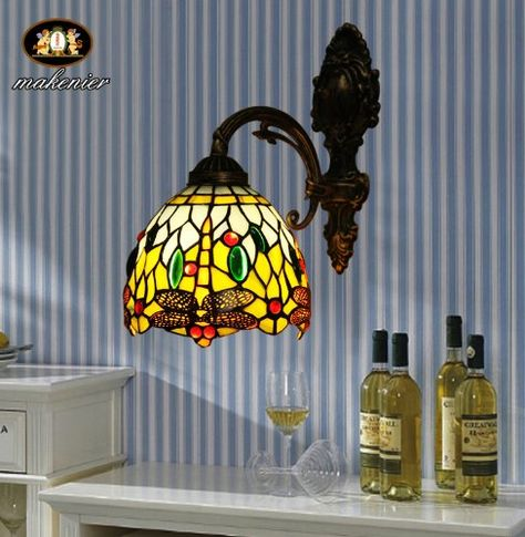 Tiffany Europaische Retro Style Stained Glass Wall Lamps 1 Light