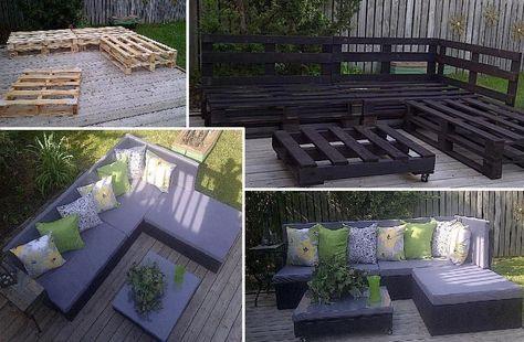 meubles de jardin en palette bois | Salon de jardin palettes ...