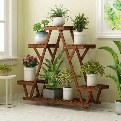 Wood Plant Stand Indoor Outdoor Carbonized Triangle 6 Tiered