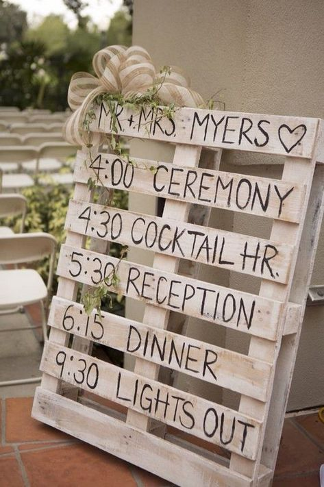 24 DIY Country Wedding Ideas with Pallets to Save Budget rustic diy pallet wedding timeline sign ideas. Wedding Timeline, Wedding Programs, Wedding Signs, Wedding Events, Wedding Ceremony, Wedding Photos, Wedding Wishes, Wedding Advice, Ceremony Signs