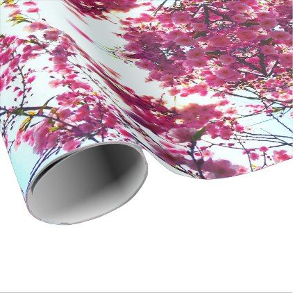 Pink Cherry Blossoms Wrapping Paper Zazzle Com Pink Flowering Trees Cherry Blossom Blossom Trees