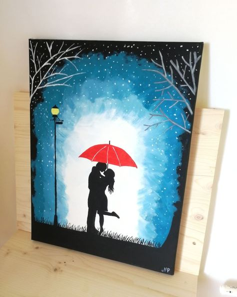 """Romantic hand painted Wall Decor ❤  Acrylic painting """"Red umbrella"""" on canvas. Size 24×30 cm It is an original acrylic painting and…"""