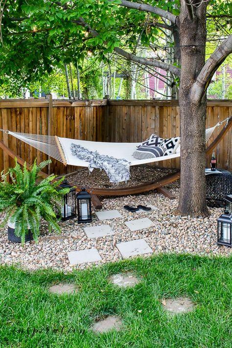 Backyard Hammock, Backyard Retreat, Backyard Fences, Hammocks, Hammock Ideas, Backyard Patio Designs, Small Backyard Design, Small Backyard Patio, Oasis Backyard