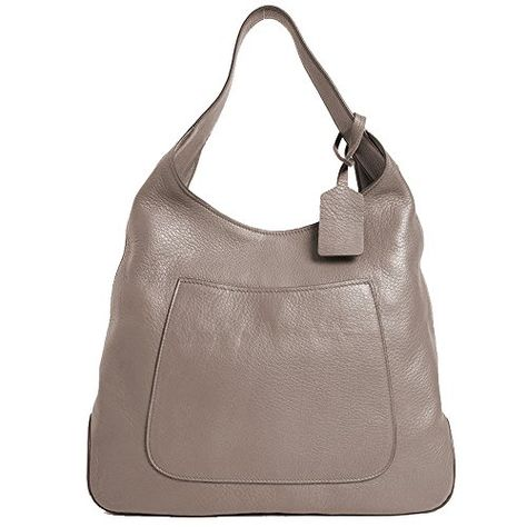 28c6e2846580 $1695 - Prada Women's Argilla Grey Leather Large Hobo Handbag 1BC006