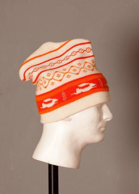 5f0586cbb07345 Vintage Winter Ski Hat - Running Rabbit - orange and cream on Etsy, $20.00