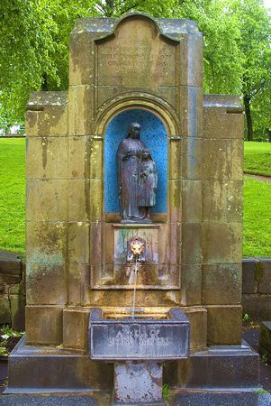 St Anne's Well, Buxton, Derbyshire, England. The spring at St Anne's Well was a place of pilgrimage as early as the Middle Ages. In Elizabeth I's time it was visited for its health giving properties and Mary Queen of Scots partook of the waters when she was being held captive by the Earl of Shrewsbury and his wife Bess of Hardwick at nearby Chatsworth