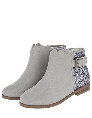 Peyton Scallop Boots | Grey | 3 Shoe