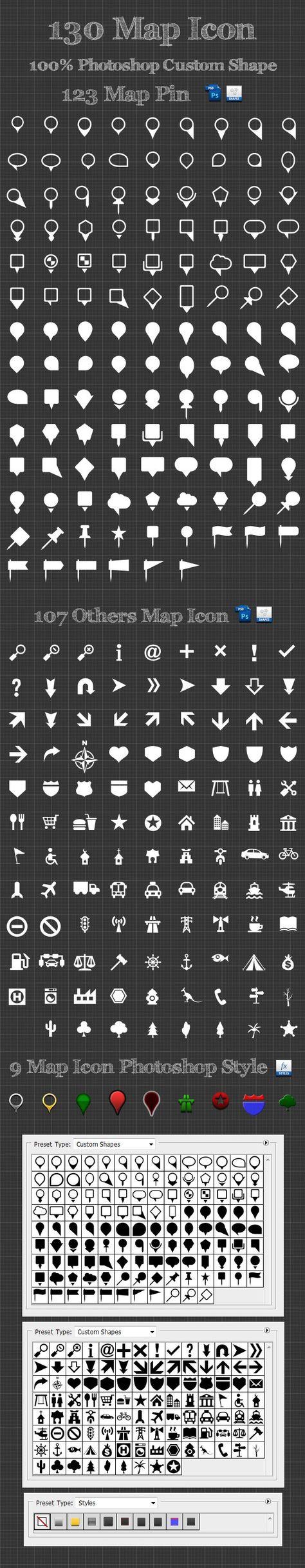 130 Map Icon Photoshop Custom Shapes