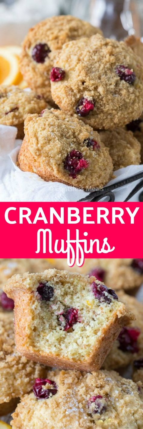 Cranberry Orange Muffins are deliciously moist with a sweet buttery streusel topping and a hint of citrus and cranberry in every bite. #centslessmeals #cranberryorangemuffins #withcranberries #withorange #easyrecipe #easymuffinrecipe #homemademuffins #homemaderecipe #moistmuffins #holidayrecipe #festiverecipe #streuseltopping