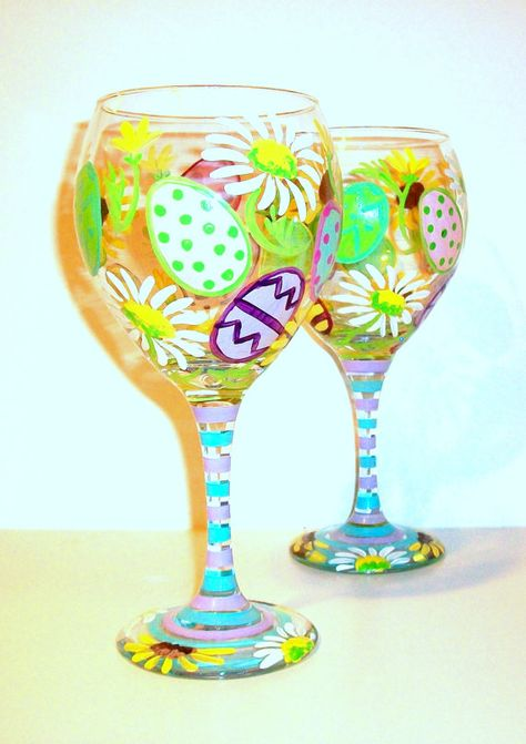 Hand Painted Wine Glasses Easter Eggs and by